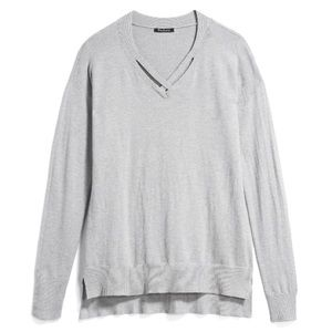 Light Gray Bay Cross Front Detail Sweater